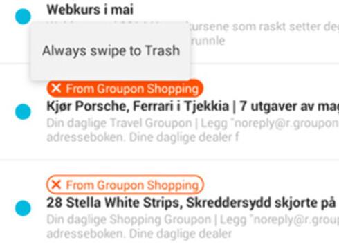 Her har vi slettet mange Groupon-eposter, og da foreslår Mailbox at alle eposter av den typen skal slettes automatisk.