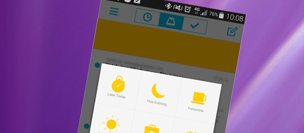 SLUMRE: Med Mailbox kan du slumre en epost slik at den dukker opp på toppen senere.