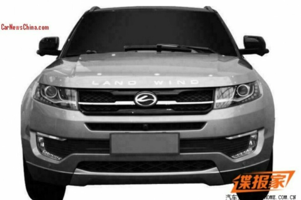 SKAMLØST: Det er faktisk rett forfra Land Winds nyeste ligner minst på originalen - Range Rover Evoque. Foto: CarNewsChina.com