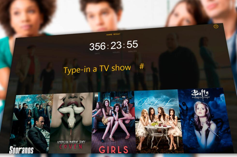 TV-DILLA: Ny nettjeneste kan enkelt finne ut hvor mye tid du har brukt på å se TV-serier. Men tør du? Foto: ALL OVER PRESS / KIRSTI ØSTVANG
