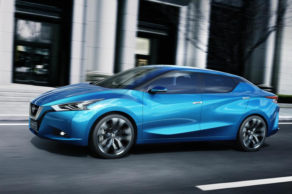 KINESISK DESIGN: Nissan Lannia skal være spydspiss for en ny designretning Nissan håper skal erobre førswt Kina, så verden. Rimelig ambisiøst, altså. Foto: NISSAN