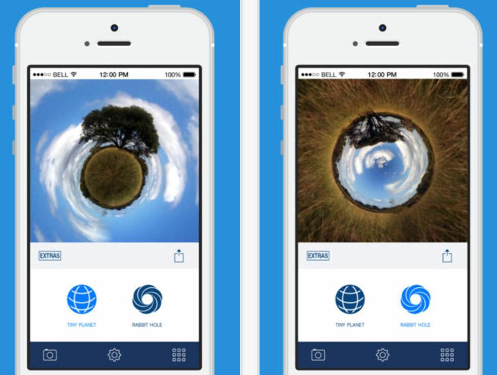 SMÅ: Tiny Planet Photos lar deg både lage jordkloder og «kaninhull».