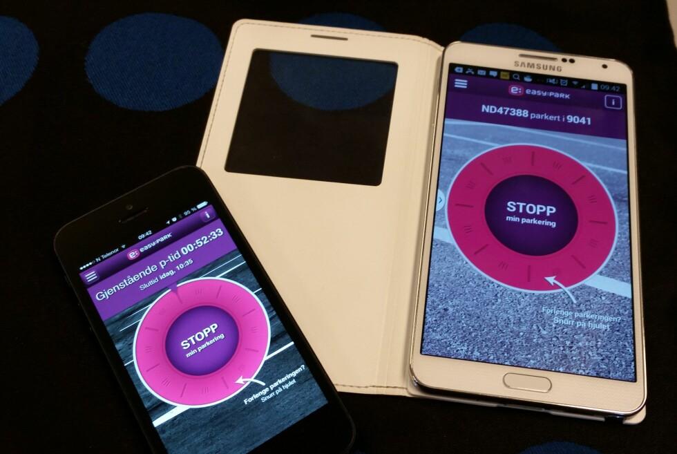 PARKERINGSAPP: EasyPark gjør det enklere å betale for parkeringen. Vi brukte Galaxy Note 3 (Android) og iPhone 5 (iOS) under vår testperiode, men det er også en app for Windows Phone-brukere. Foto: PÅL JOAKIM OLSEN