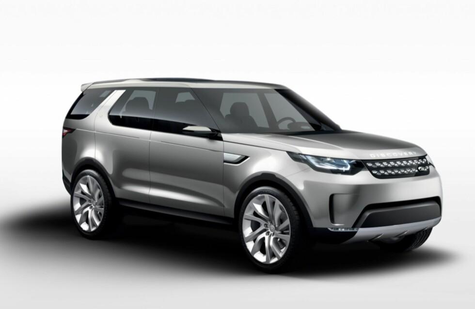 "<strong><b>RENE LINJER:</strong></b> I det minste som konseptbil fremstår nye Land Rover Discovery som renskåren i formspråket. Men ""Discovery-signaturen"", forhøyningen av taket bakover, er til stede. Foto: LAND ROVER"