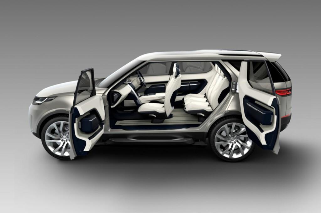 <b>GENIAL SETELØSNING:</b> Interiøret i neste Land Rover Discovery - i det minste denne konseptversjonen - kan varieres nærmest i det uendelige. Men bilen har flere smarte ess i ermet... Foto: LAND ROVER