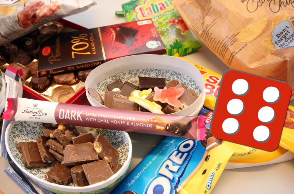 GODTERIER TIL TERNINGKAST SEKS: Oreo-sjokoladen og Anthon Bergs mørke sjokolade med chili, får terningkast seks når vi har smakstestet nyhetene i godterihyllene. Foto: KRISTIN SØRDAL