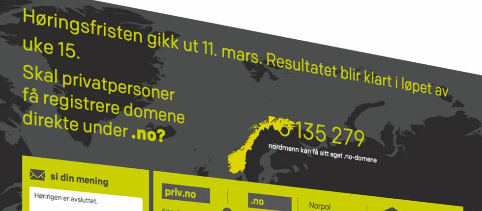 HØRING: Fra januar til mars har forslaget om at privatpersoner skal kunne registrere .no-adresser vært ute til høring. Foto: Norid