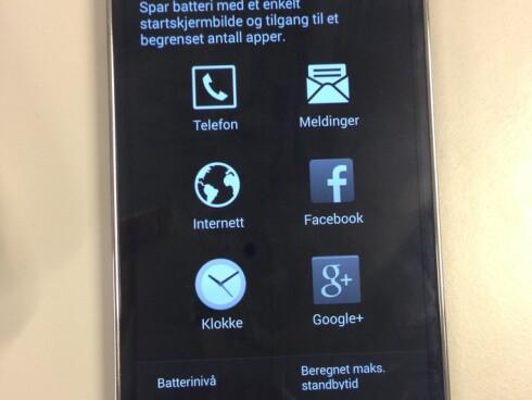 I ultra strømsparingsmodus skal telefonen greie to døgn stand-by på 10% batteri. Foto: PÅL JOAKIM OLSEN