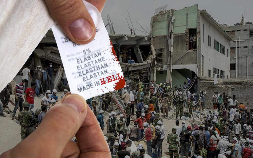 TRAGEDIE: Over tusen mennesker døde da tekstilfabrikken Rana Plaza raste sammen i slutten av april. Fabrikken produserte blant annet klær for merkene Mango og Primark. Foto: PER ERVLAND/ALLOVER