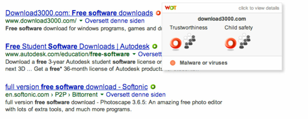 IKKE KLIKK: Se her, ja. Det er ikke siden man vil laste ned programvare fra.