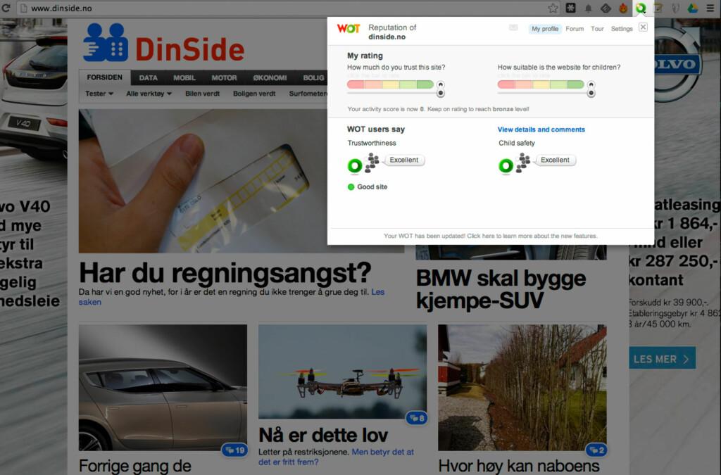 OGSÅ EN SLAGS BARNEVAKT: Web of Trust viser deg hvorvidt du kan stole på nettsiden du surfer på.