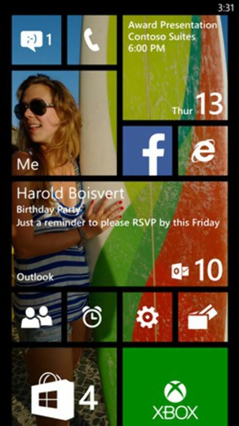 FIFFIG: Nytt på hjemskjermen er muligheten for en ekstra kolonne og transparente ikoner slik at du kan ha et bakgrunnsbilde.