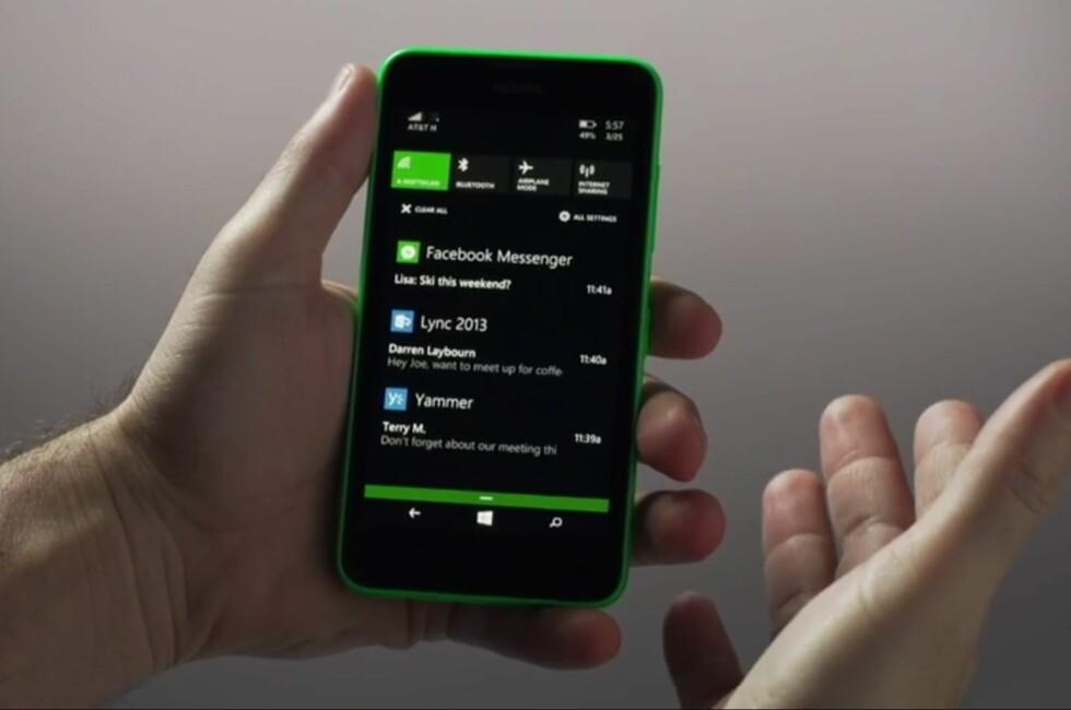 ENDELIG: I Windows Phone 8.1 får også Microsofts mobile operativsystem et eget varslingssenter.
