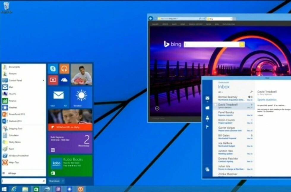 Slik vil den altså se ut, startmenyen i Windows 8.1. Men den kommer ikke før i neste oppdatering av operativsystemet. Men allerede 8. april kommer endringer som vil glede brukere av tastatur og mus. Foto: Microsoft