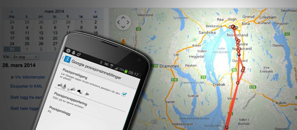 <strong>LOGG: </strong>Dersom posisjonsloggen er aktivert på telefonen din, kan du se på et kart hvor du har vært til en hver tid. Foto: PÅL JOAKIM OLSEN
