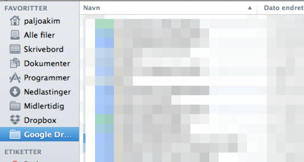 Google Disk legger seg som en egen stasjon både i Windows og OS X.