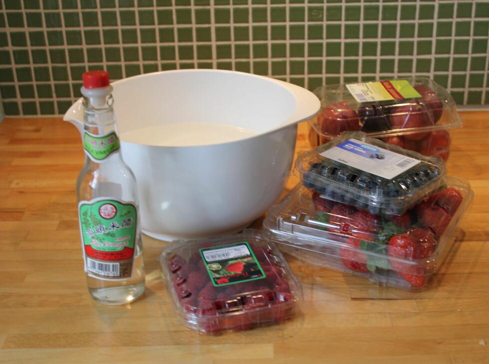 Fyll en bolle med vann, og ha i eddik. Vi har her valgt en riseddik, fordi den smaker minst av de vi hadde tilgjengelig. Foto: ELISABETH DALSEG