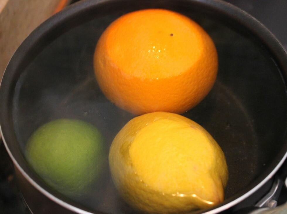 Sitrusfrukten legger vi raskt i en gryte med kokende vann. Foto: ELISABETH DALSEG