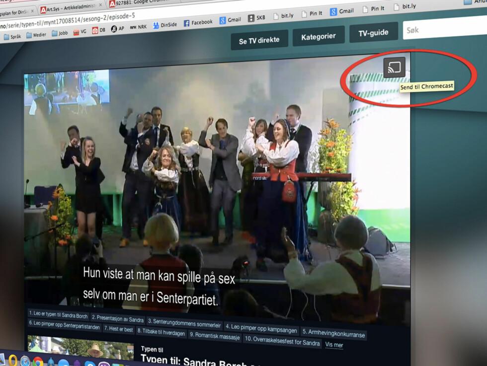 HAR BEGYNT Å TESTE: NRKs nett-tv-spiller har nå fått en Chromecast-knapp i nettleseren. Den er fortsatt bare i beta, så den fungerer ikke 100 prosent. Foto: KIRSTI ØSTVANG