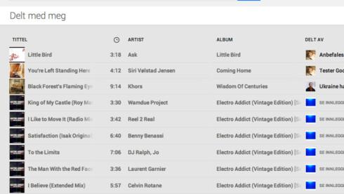 Bruker du Google+, dukker all musikk fra dine kretser opp i «delt med meg»-skjermbildet.
