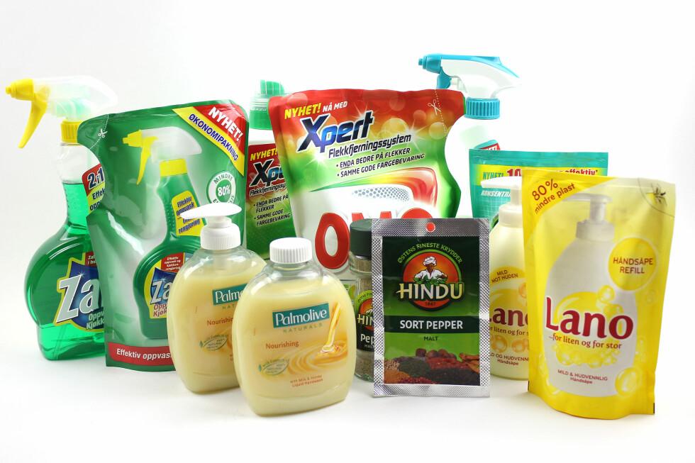 REFILLPRODUKTER:Blant såpeprodukter finner du mange refillpakker. Men du sparer ikke alltid penger på å kjøpe dem.  Foto: OLE PETTER BAUGERØD STOKKE