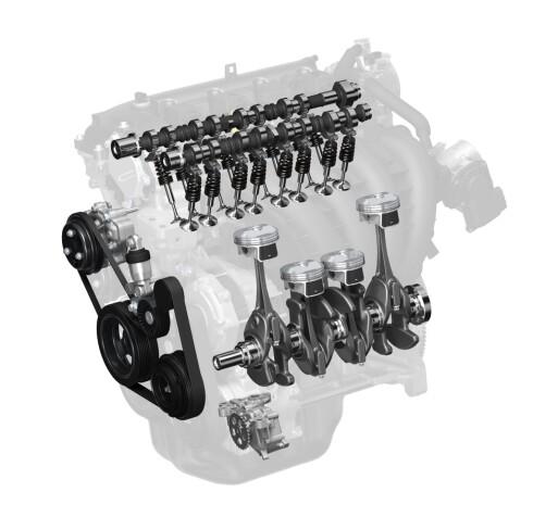 <b>LAVERE FRIKSJON</b> i Dagens motorer har Mazda klart å senke friksjonen med 30% ved å optimalisere bevegelige deler. Den jobben skal de fortsette med. Foto:  MAZDA