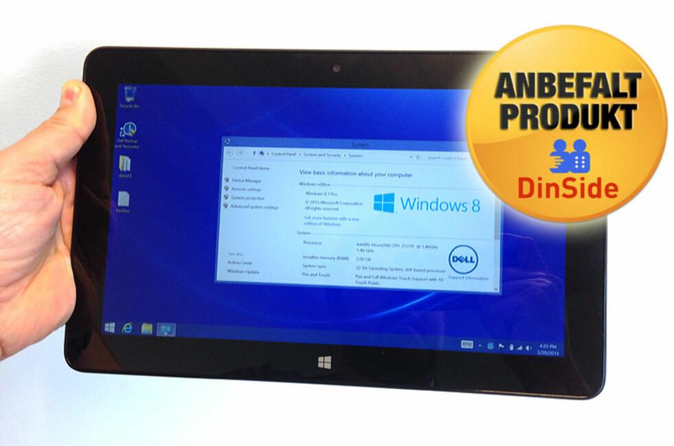 Dell har laget et meget godt nettbrett i Venue Pro 11, som enkelt kan gjøres om til en bærbar PC. Foto: Bjørn Eirik Loftås