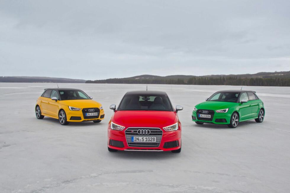 FARGEGLAD: S1 fås i gult, rødt og grønt.  Foto: Audi