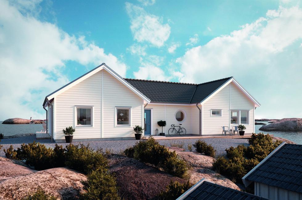 Selvrensende: Nordsjös nye husmaling skal holde seg skinnende hvit og blank i opptil 16 år, slik at du slipper den årlige husvasken. Foto: MYRESJÖHUS