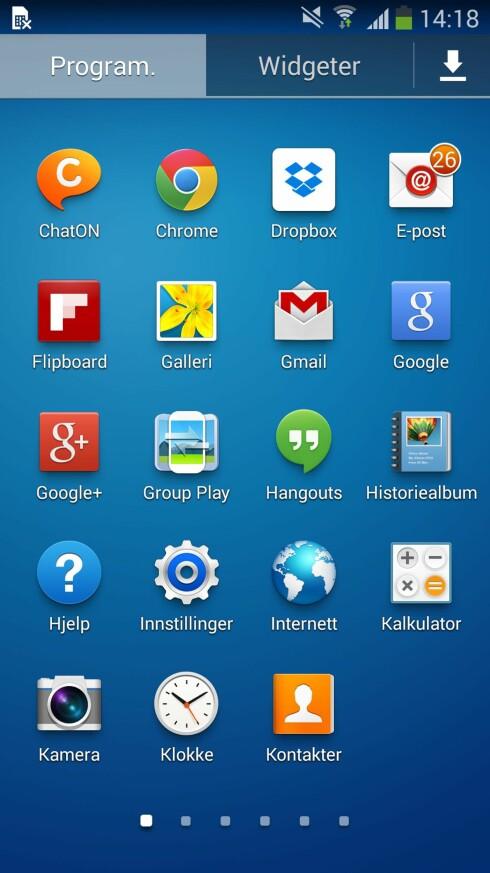 APPSKUFFEN: Alle installerte apper og småprogrammer på Android-telefonen ligger i sin egen app. Ikonet er gjerne utformet som et rutenett. Foto: KIRSTI ØSTVANG