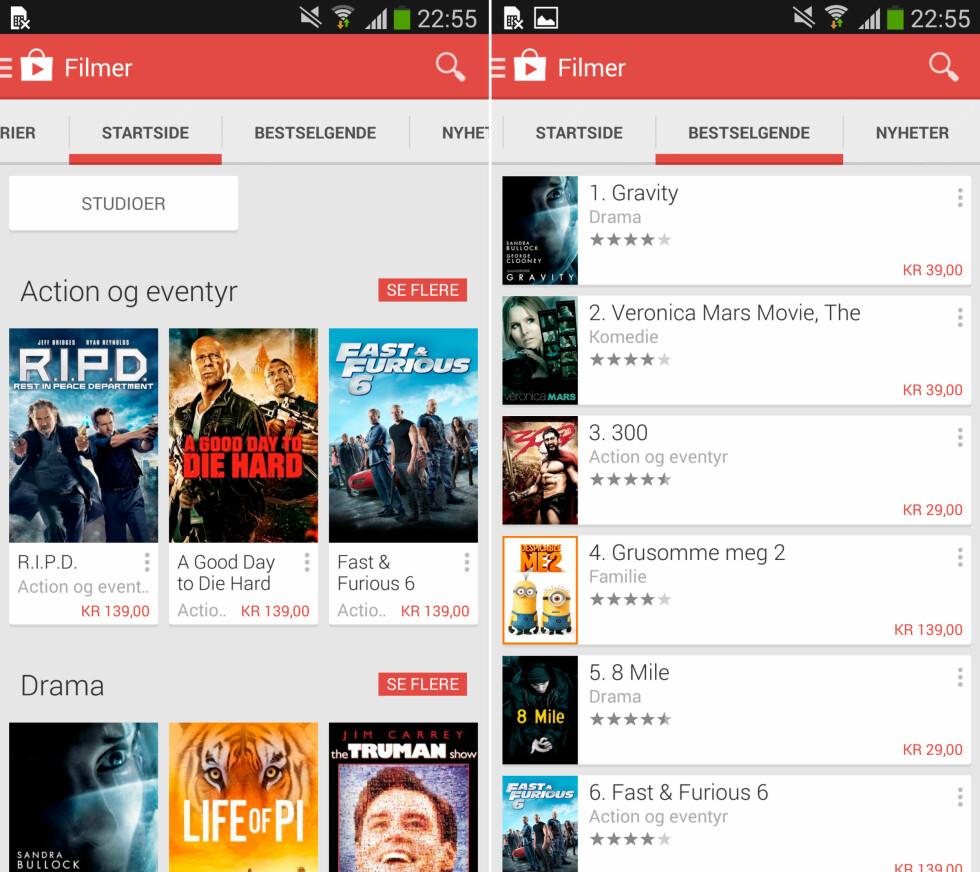 <strong>FILMBUTIKKEN:</strong> Google har en egen avspillingsapp kalt Play Movies hvor du kan se på filmene du leier og kjøper. Men du må gjøre selve kjøpet fra Google Play-butikken. Foto: KIRSTI ØSTVANG
