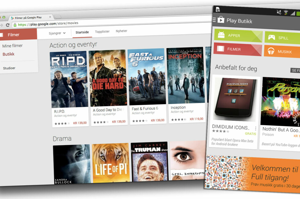 MER INNHOLD: Nå er det ikke lenger bare apper å få kjøp på Googles Play-butikk. Foto: KIRSTI ØSTVANG
