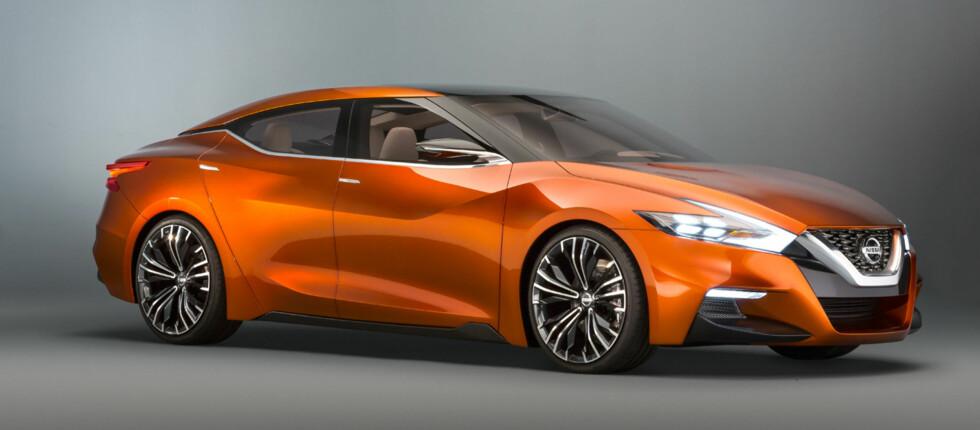 TESLA-INSPIRERT? Det er selvsagt spekulasjon fra vår side, men i og med at Nissan (med partner) er verdens største elbilprodusent, er det naturlig å tenke seg at de vil bygge på produktrekken med en større modell enn Leaf. Foto: NISSAN