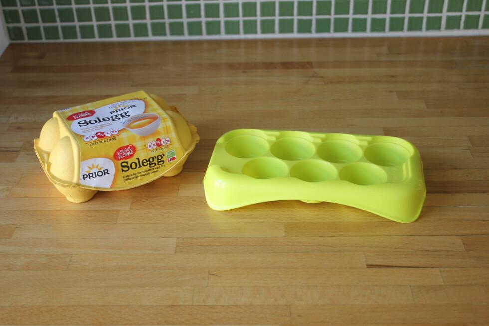 Du kan fint fryse eggehviter, -plommer eller hele egg, vi anbefaler å bruke et isbitbrett. Foto: ELISABETH DALSEG