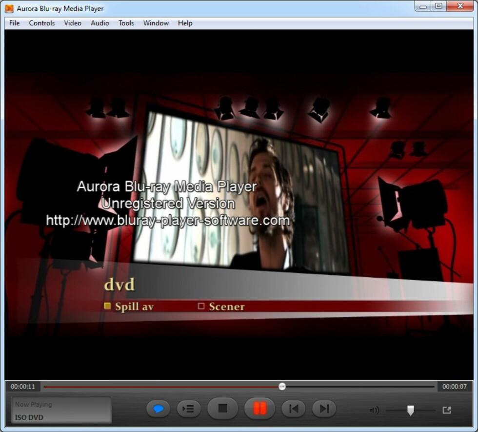 Når du spiller av Blu-ray og DVD må du i gratisversjonen leve med dette varselet midt i skjermbildet. Foto: BJØRN EIRIK LOFTÅS