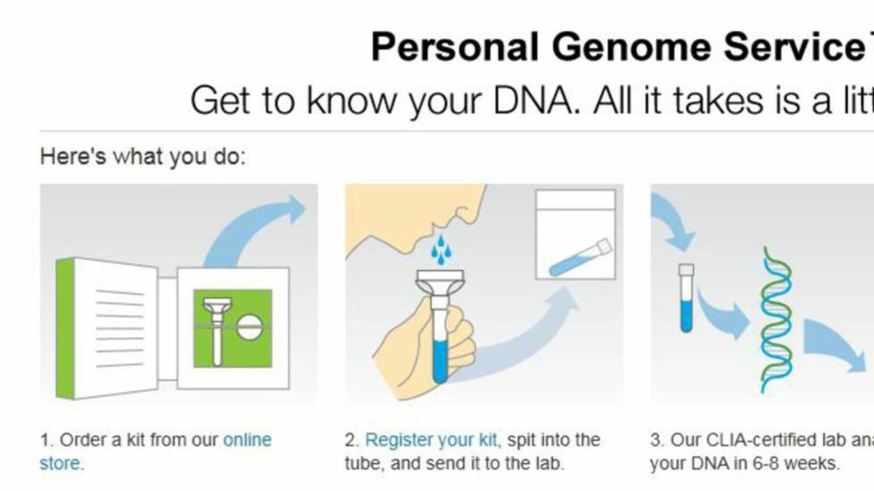 SPYTTER I BØSSA: 23andMes kunder sender inn en spyttprøve, og får sin DNA-profil tilbake for 99 dollar.  Foto: 23andMe
