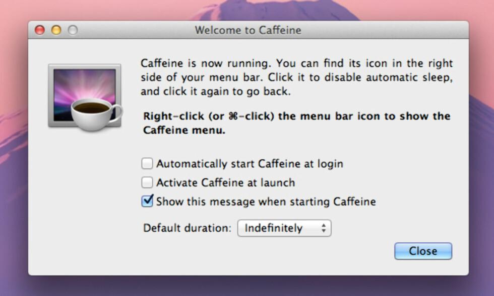 CAFFEINE: Gjør at Mac-en din holder seg våken så lenge som mulig. Foto: KIRSTI ØSTVANG