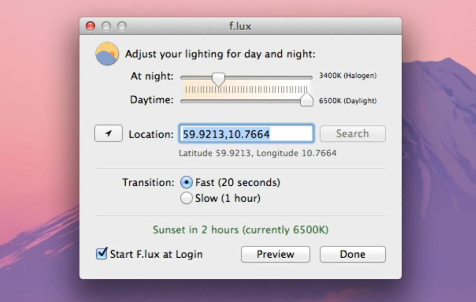 F.LUX: Vil stille inn fargen på skjermen din etter tiden på døgnet og hvor du befinner seg.