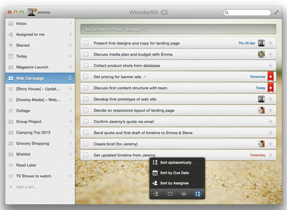 WUNDERLIST: Er ikke den mest avanserte gjøremålsappen som finnes til Mac, men den er enkel å bruke og pen.