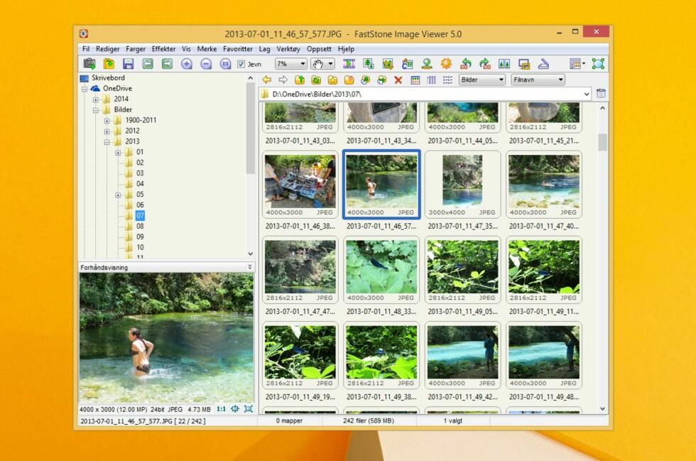 Faststone Image Viewer har endelig kommet i ny versjon. Grensesnittet er imidlertid som før, og det fungerer meget bra.
