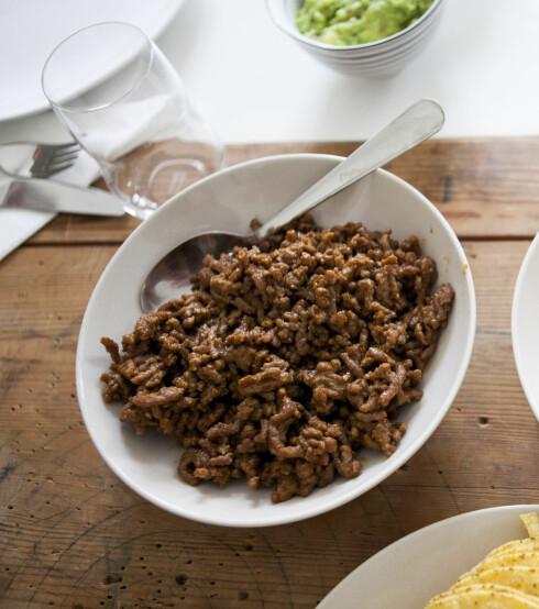 STEKT: Kjøttdeigen til fredagstacoen er best stekt, ikke kokt.  Foto: PER ERVLAND