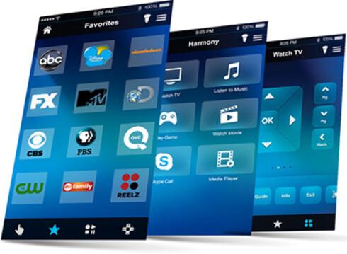 BRUK MOBILEN: Har du en iPhone eller Android-telefon, kan du bruke den til å styre TV-en eller andre enheter du har. Foto: LOGITECH