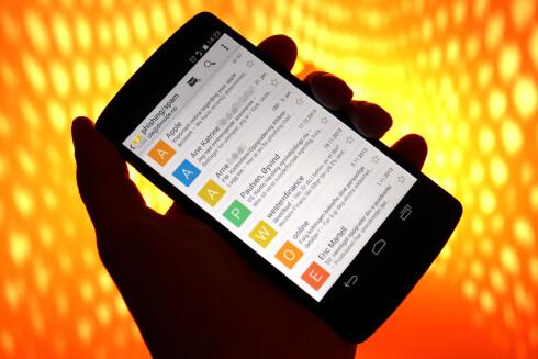 SVINDEL: Alle disse e-postene er eksempler på svindelmail. Foto: OLE PETTER BAUGERØD STOKKE