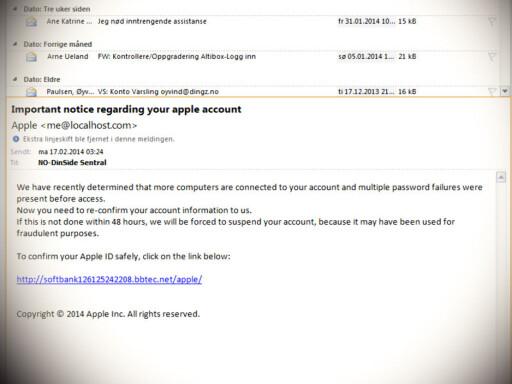 IKKE FRA APPLE: Er du i tvil om en e-post faktisk er fra Apple, som i dette tilfellet, bør du unngå å klikke på lenken. Foto: OLE PETTER BAUGERØD STOKKE