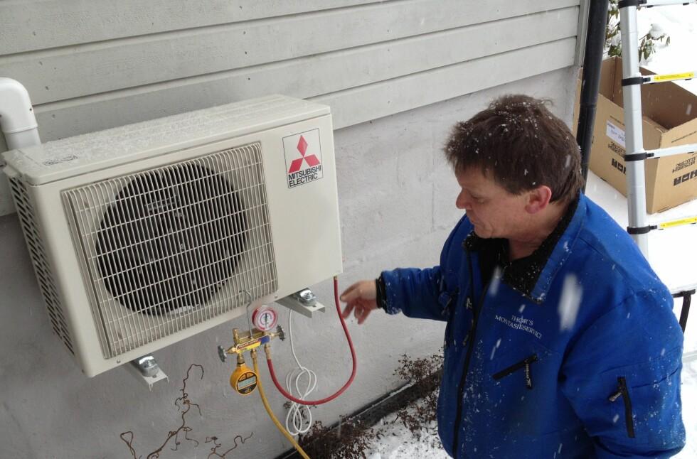 MÅLEKRAV: Heretter vil du kun få støtte til varmepumper med energimåler. Luft-luft-varmepumper, som på bildet her, er allerede unntatt miljøstøtte fra Enova.  Foto: TUVA MOFLAG