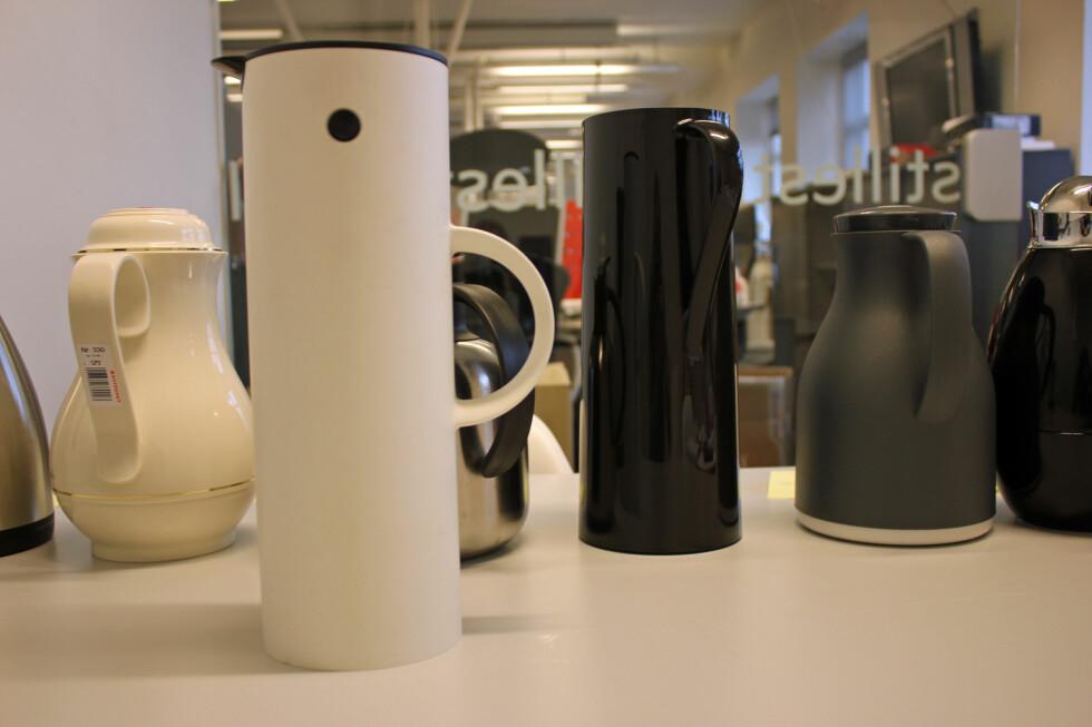 TERMOKANNER: Designkanner er pene å se på, men holder de kaffen varm? Foto: BERIT B. NJARGA
