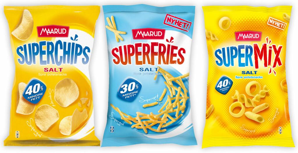 IKKE FORKLART: 40 og 30 prosent mindre fett, lover Maaruds Superchips, Superfries og Supermix. Det forklares ikke hva dette egentlig betyr.  Foto: MAARUD / OLE PETTER BAUGERØD STOKKE