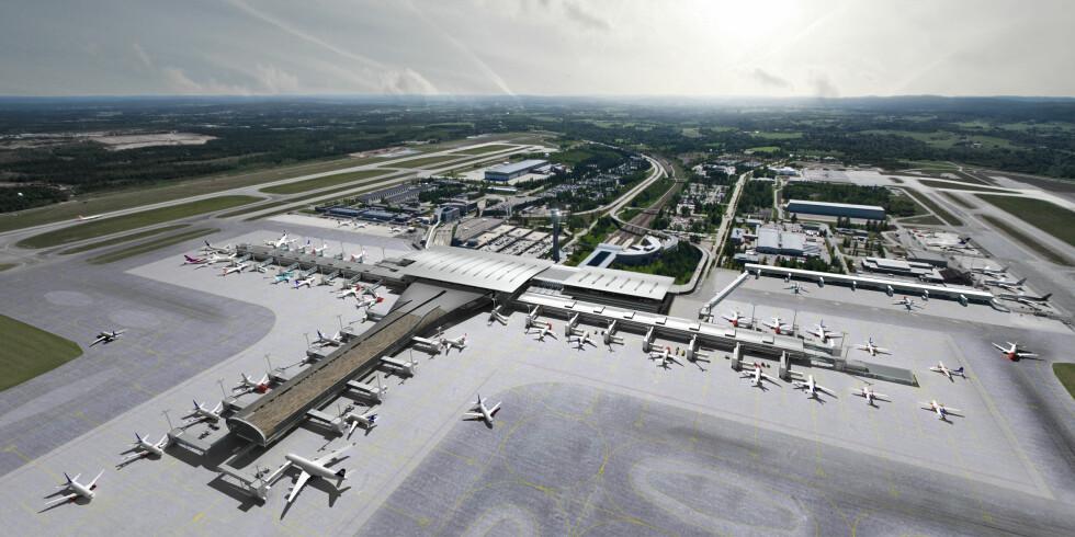 Illustrasjon av hvordan Oslo Lufthavn skal bli når utbyggingen er ferdig. Foto: Oslo Lufthavn AS / Illustrasjon: Team_T AS