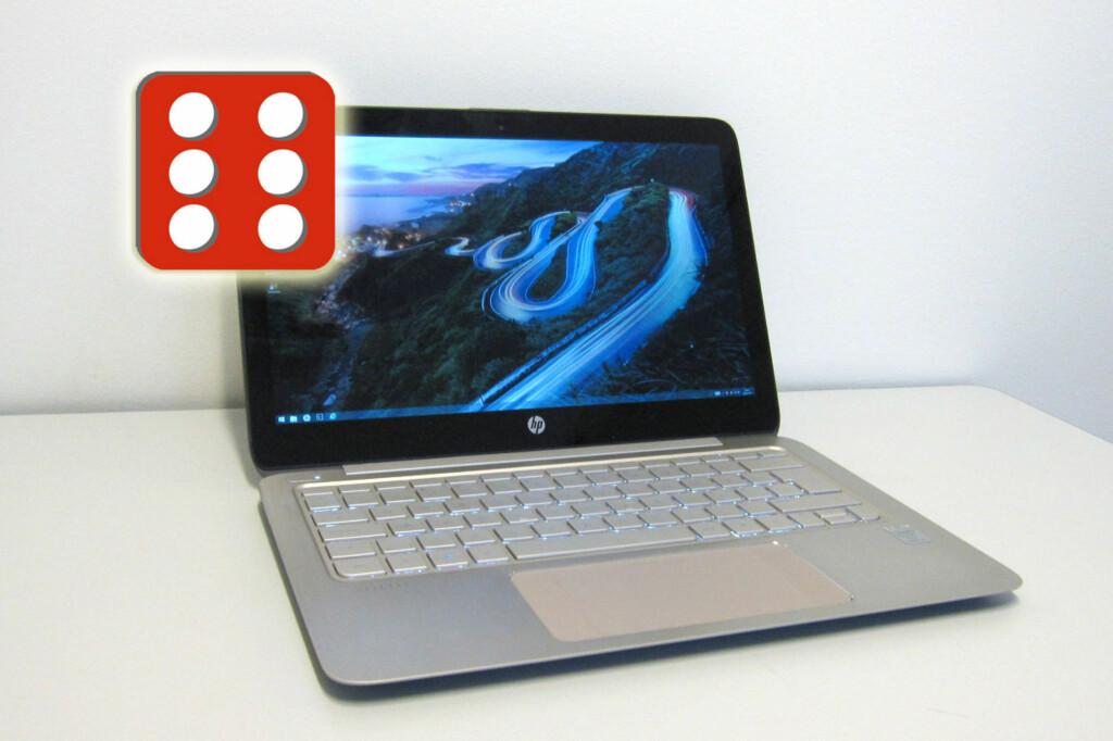 Er du ute etter en lekker, lett, kjapp PC med lang utholdenhet? HP Spectre 13 scorer høyt på de aller fleste punkter, og blir kronet med en sekser på terningen. Foto: Bjørn Eirik Loftås