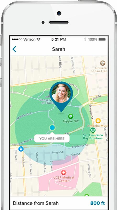 I appen kan andre se hvor du befinner deg på et kart. Foto: CUFF